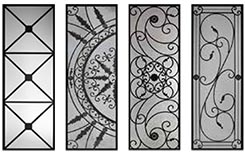 Wrought iron glass inserts for doors